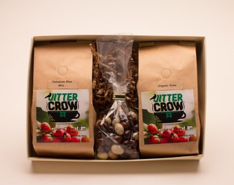 Mother's Day Island Exotic Coffees Gift  Box - KONA and Jamaican Blue Mountain. Organic Coffee. Premium Island Coffee.
