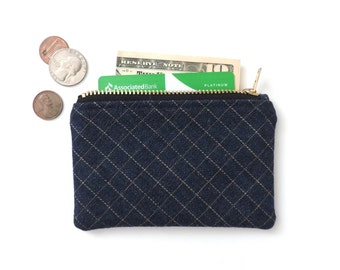 Grid Denim Wallet Coin Purse Zipper Pouch Slim Wallet