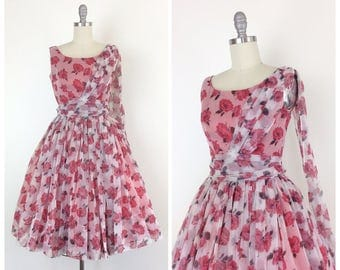 50s Pink Rose Chiffon Party Dress / 1950s Vintage Floral Prom Wedding Dress / Small / Size 4