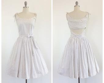 50s Black & White Polkadot Day Dress / 1950s Vintage Summer Sun Dress / Medium / Size 8