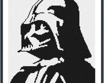 Darth Vader Portrait -  Cross Stitch Pattern - Instant Download