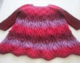 Girls Knit Dress. Wool Dress. Hand Knitted Dress. Ready to Ship.