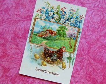 Vintage German Chicken & Chicks, Farm, Lilly of the Valley, Easter Postcard. Gold Detailing and Heavily Embossed