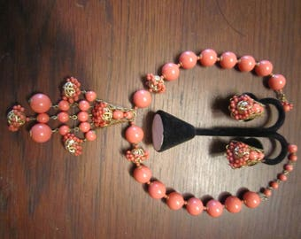 Miriam Haskell Salmon Faux Coral Necklace and Earrings