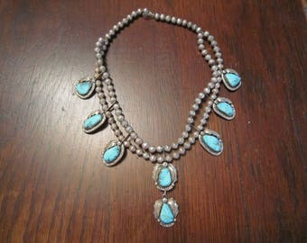 Carico Lake Mine Turquoise and Sterling Necklace