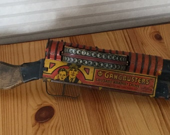 Vintage 1940's Marx Tin Toy Tommy Machine Gun, Gangbusters, Wind up Toy