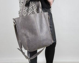 Gray leather bag - 02 - Sale !!!!