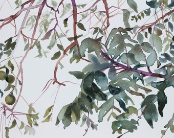 branch study no. 1 . original watercolor painting