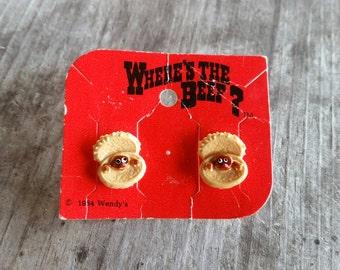 1984 Wendy's Where's the Beef Hamburger Earrings