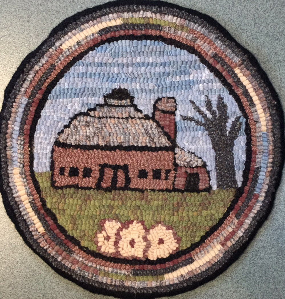 Rug Hooking Pattern For Old Barn #3 Chair Pad, On Monks