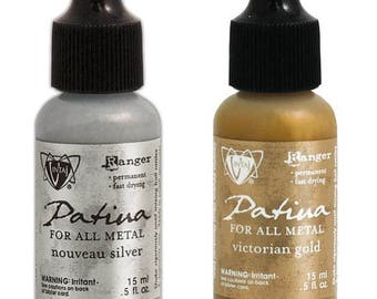 Vintaj Patina Metal Ink  - VICTORIAN_GOLD, and NUVEAU_SILVER 2 .5 oz Bottles - cc07 IN009