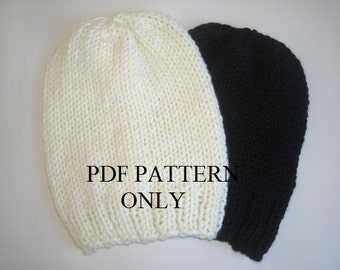 Easy knit beanie pdf  pattern,Knit hat pattern, Beanie pattern ,Pdf pattern for knit slouchy beanie ,easy slouchy beanie pattern