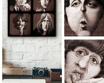The Beatles, Rock and Roll, digital art print, digital painting, original artwork, wood panel, wall art, printable art, art collectible