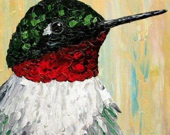 Hummingbird Painting, Original bird painting, acrylic on wood tile, home decor or gift