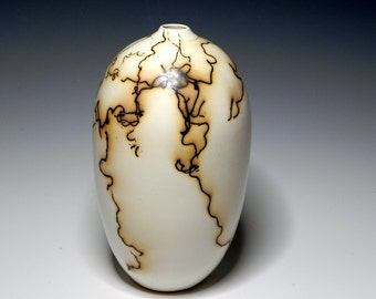 White/Horsehair/Raku/Ceramic/Vase/Handmade/OOAK/HomeDecor