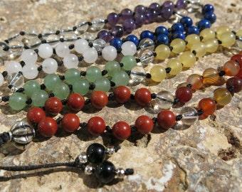 Sterling Silver Chakra Mala, 6mm beads 108 beads, Buddhist prayer beads, Tibetan prayer beads, Wrist mala, Mala Necklace