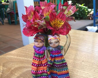 Set of Two Large Dancing Worry Dolls Handmade Fair Trade (005K)