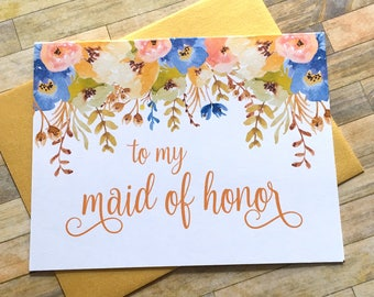 Maid of Honor Thank You Card, Thank You For Being My Maid of Honor, Wedding Thank You, Thank You Maid of Honor, Bridesmaid - AUTUMN BLOOMS