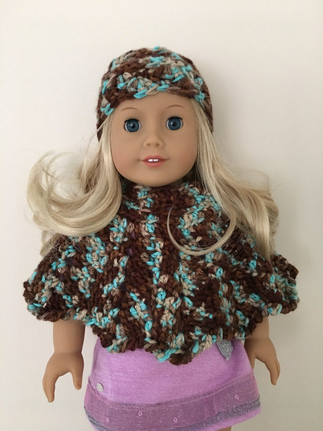 18 inch doll hat and poncho set suitable for american girl