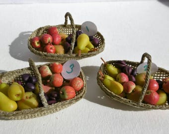 12th scale  trugs of September fruit, apples, pears, plums, for your Fall scene