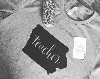Iowa Teacher, Teacher Gift, Iowa Soft Grey Tshirt, FREE SHIPPING TODAY!!