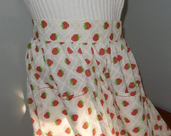 Vintage Handmade Half Apron Made From Cotton Strawberry Fabric
