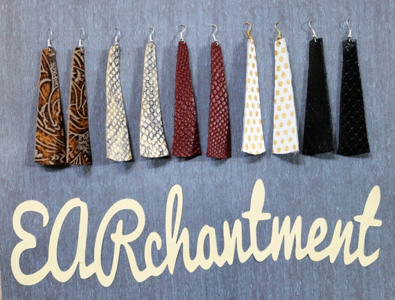 Small Leather strip - Dangle Earring - Drop earring - Variety Sample Pack - 5 Pair leather strip earrings _ FLAWLESS