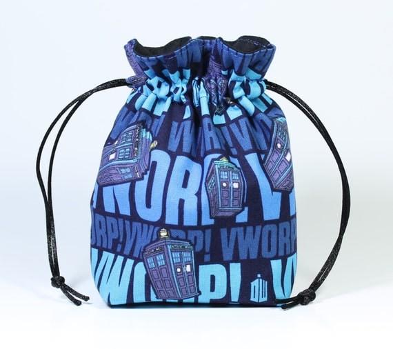 SALE Dr. Who tardis Drawstring Bag, Dice Bag