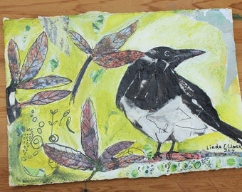 Original  Art Mixed Media Painting Acrylic and Collage Paper M is for Magpie
