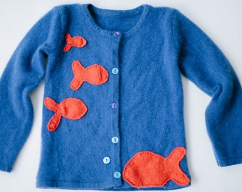 Handmade Cashmere Toddler Cardigan Sweater with Quilted Goldfish, Sz 3T