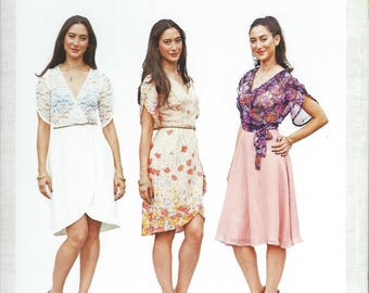 Wrap Dress with tulip skirt and petal sleeves - Beginner - size 0 - 18