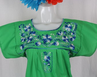 Mexican Embroidered Tunic-Embroidered by Hand-Green (Small) BOHO Hippie-Handmade-Beautiful-Valentines Day Gift-Fiesta Mexicana-Birthday Cake