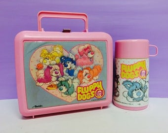Fluppy Dogs Lunchbox, Fluppy Dog Thermos, Vintage Lunchbox, Aladdin Lunchbox, Aladdin Thermos, Walt Disney, 1980s Fluppy Dogs, 1980s Toys
