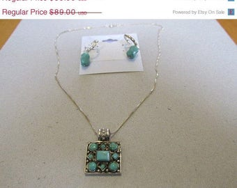 Vintage Pendant, Sterling Silver Chain  Pendant, Turquoise Stones, Native American, Collectible Jewelry