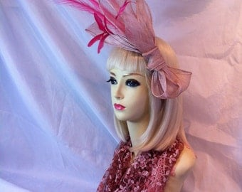 Fascinator large HAT asymmetrical pinks  large races fascinator head piece wedding races high fashion designer style