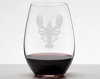 Lobster Etched Glass Stemless Wineglass, Wedding, Maine Seaside Wedding