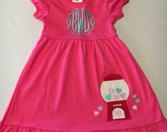 Personalized Valentine's Day Heart Gumball Machine Shirt, Romper, Dress or Onesie