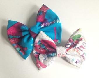 Trolls Handmade Fabric Hair Bows