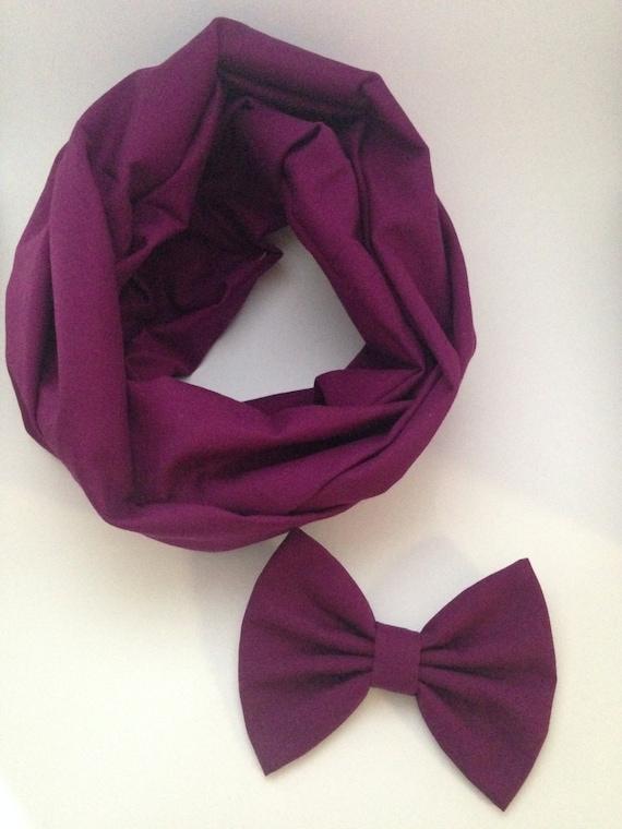 Organic cotton Purple infinity scarf and fabric hair bow set