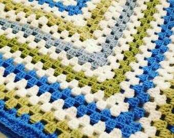 Crochet Baby Blanket, Traditional Hand-Crochet Blanket, Baby Boy, Cot Blanket, New Baby, Pram Topper, Reborn Doll, Newborn