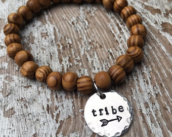 "Hand stamped ""tribe"" charm on wood beaded bracelet - find your tribe - inspirational jewelry - arrow -  Love Squared Designs"