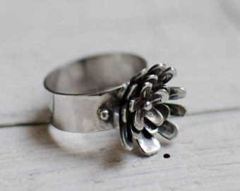 massive silver ring, words, flower, nature, rustic, botanical