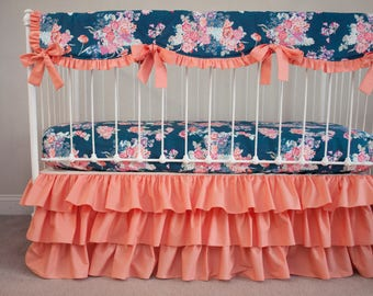 Navy Floral Coral / Peach Bumperless Baby Girl Crib Cot Bedding