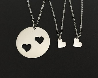 Mother and 2 Daughters Necklace Set. Stainless Steel Necklaces. Matching Family Necklaces. Generation Necklace. Mother Daughter Necklace Set
