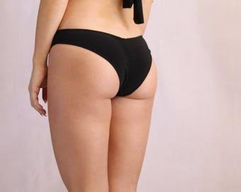 Little Black Bikini. Bathing Suit Bottom. Sheering Back. Beachwear. Swimsuit Small Swim Panties.