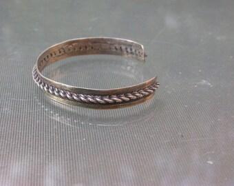 French vintage handmade solid sterling silver  bracelet   jong stamped sterling bracelet ethnic syle  bangle
