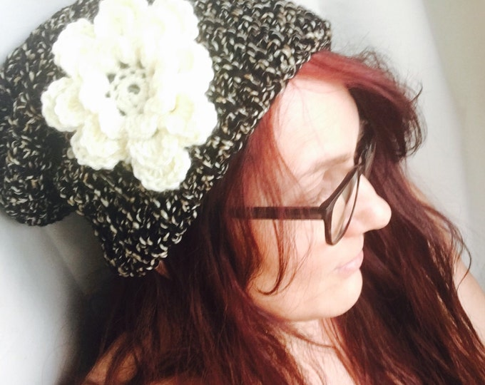 Slouchy crocheted Hat-Beanie-Big Flower-Women's Hats-Winter Hats-Men's accessories-