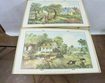 Currier and Ives tv trays with stands American Homestead summer and Autumn portable dinner tables cottage chic serving trays