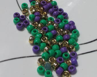 Lot Of Salvaged Green Purple Gold Colored Pony  Plastic Beads