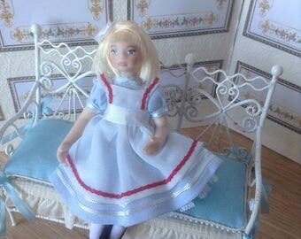 1:12 scale miniature porcelain doll  , children 1/12 scale dollhouse porcelain doll, dolls for dollhouses Alicia doll